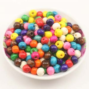 Beads, Wood, Assorted colours, Round shape, Diameter 8mm, 100 Beads, (MZP138)